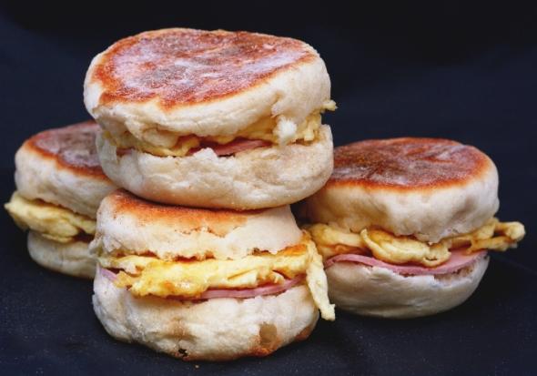 Brunch muffin sandwiches
