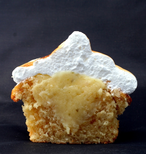Cross-section of Coconut & Lime Cupcake