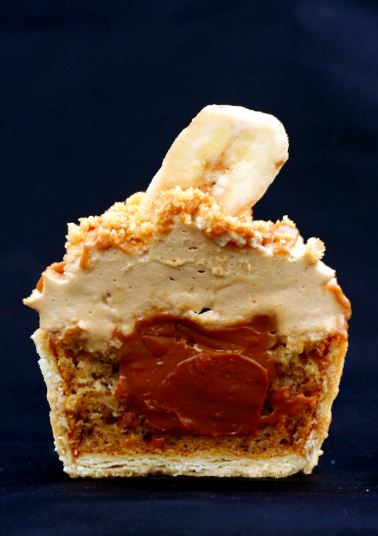 Cross-section of a Banoffi Pie cupcake