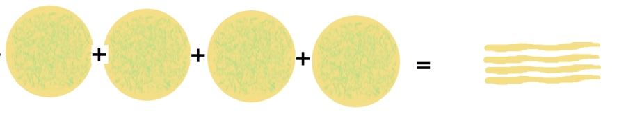 Four--layer stack of dough circles