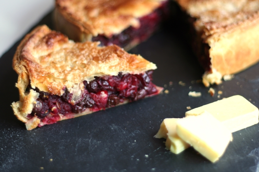 Cranberry Tart and cheese on a slate