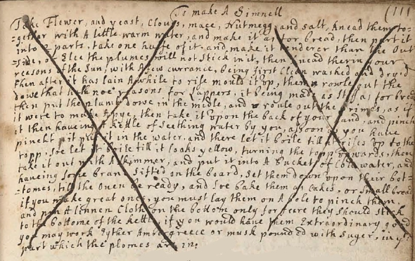Manuscript Simnel Recipe
