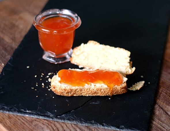 Apricot Jam and buttered scones.