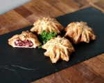 Beetroot, cheese and walnut origami pies