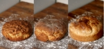 Side by side comparison of three different bakingconditions
