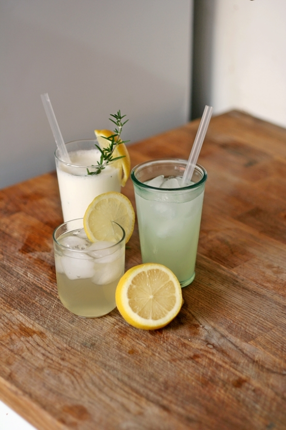 Three glasses of lemonades