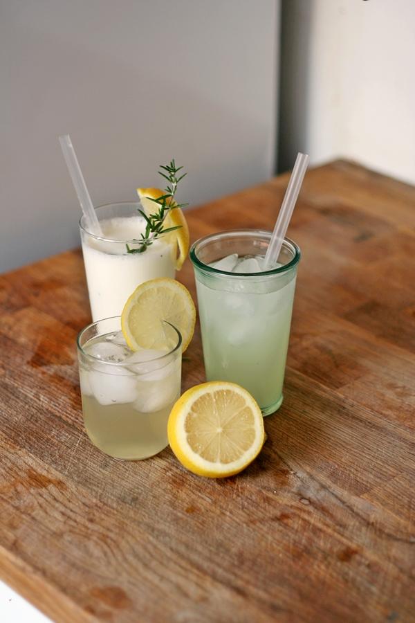 Three glasses of lemonades