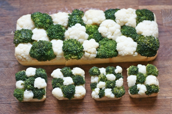 Cauliflower and Broccoli Checkerboard Tarts